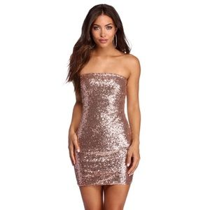 ✨Windsor Champagne Sequined Strapless Mini Dress✨